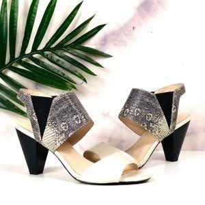 KARL LAGERFELD Floquet Leather Snakeskin Heels 9